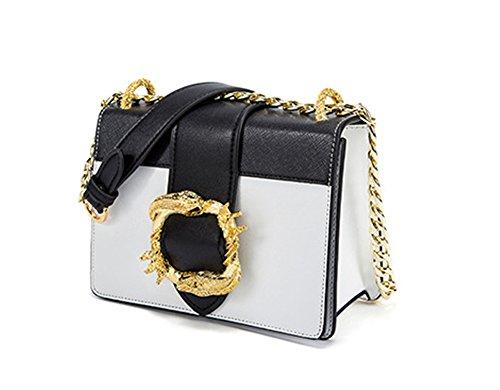 Xinmaoyuan Damen Handtaschen Metall Schlange Seite Schnalle kleine Quadratische Tasche Schulter diagonal Kette Paket Handtaschen aus Leder, grün Weiß