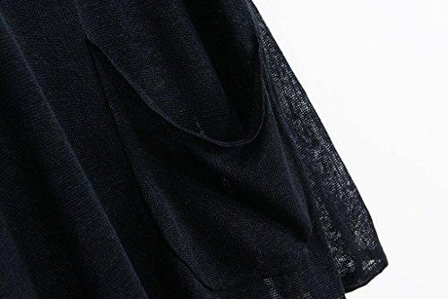 Bigood Sarrau T-shirt Lin Femme Overall Grande Taille Tops à Manches Longues Col V Pochette Noir