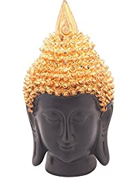 Luxe Mart Meditating Buddha Head Face with Curly Hair Showpiece - 15 cm (Polyresin, Wooden, Black, Gold, Multicolor) + Free Compass Locking Key Chain (Silver)