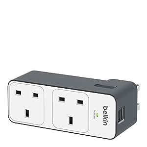 Belkin 2 Way Multi Plug Travel Surge with 2 x 2.4 A USB Charging