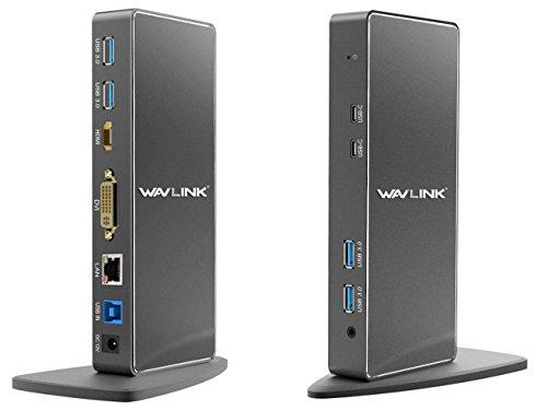 Usb-docking-port (WAVLINK USB 3.0 Universal Docking Station mit zwei Videoausgängen (DVI, VGA oder HDMI) für Laptop / PC oder Mac (Gigabit Ethernet, Audio, 2 Typ C Ports und 4 USB 3.0 Ports))
