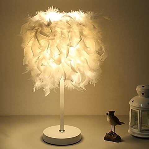 Nordic Fashion Kreative Pers?nlichkeit Feder Lampe Moderne Einfache Schlafzimmer Nachttisch Lampe Dimmen Warme Dekorative Tischlampe,Weiß