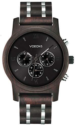 VOEONS Herren Uhr, Herren-Armbanduhr Chronograph Holzuhr mit Gliederarmband Schwarz 6010