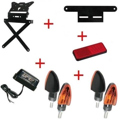Kit für Motorrad Kennzeichenhalter + 4+ Blinker Kennzeichenbeleuchtung + Reflektor + Halterung Lampa Universal Kawasaki ZZR 12002002–2005