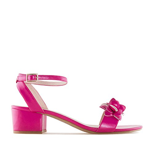 Andres Machado AM5269.Chaussures Compensées en Soft avec Franges.Pour Femmes.Petites et Grandes Pointures 32/35 et 42/45 Fuschia