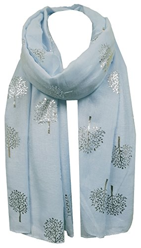- 41HfinxphAL - World of Shawls Silver Foil Mulberry Tree Print Fashion Scarf (Baby Blue)