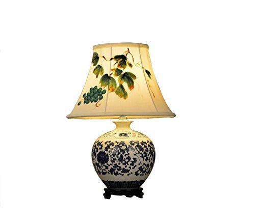 Lozse Chinesisch, Tischlampe, Arbeitszimmer, Schlafzimmer, Bett, Wohnzimmer, Keramik, Lampe, blau und weiß Porzellan, Tuch, handbemalt, Lampe -