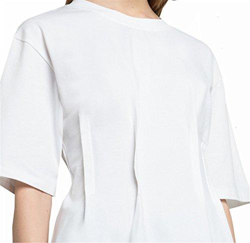 Moda Increspato Vita a Maniche Corte T-Shirt Maglietta Tee peplo Top Bianco
