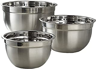 MEDED Stainless Steel International Mixing Bowls, Extra Deep Set of 3, 14,18,22cm dia,Standard Size (KWMIXBWL03, Silver)