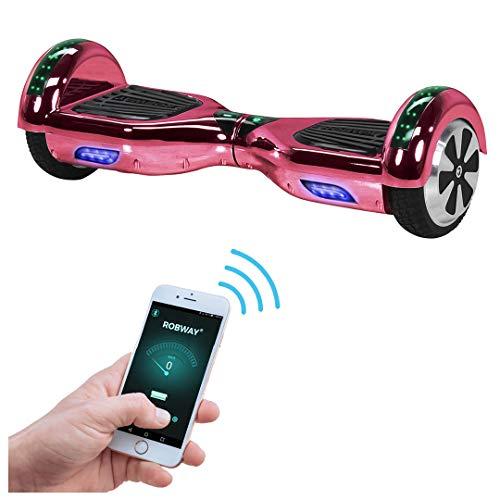 Robway W1 Hoverboard - Das Original - Samsung Marken Akku - Self Balance - 22 Farben - Bluetooth - 2 x 350 Watt Motoren - App - Led (Pink Chrom)