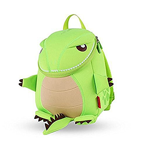 Yisibo Kinder Rucksack Kindergarten Umwelt Rucksäcke 3D Cartoon Niedlich Tier Schule Taschen Zoo Wandern Reisen Camping Kleinkind Sidekick Pack (Katze-Grau) Grüner Drache