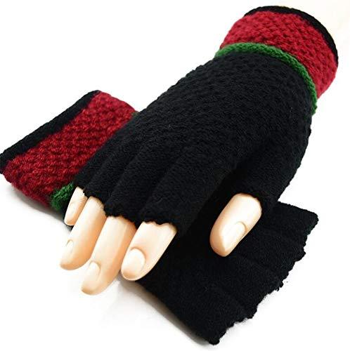 STZHIJIA Frauen Aus Gewirken Fingerlose Handschuhe Warme Verdickte Winterhalbjahr Handschuhe - Finger Unisex Zubehör Gestreifte Handschuhe EIN
