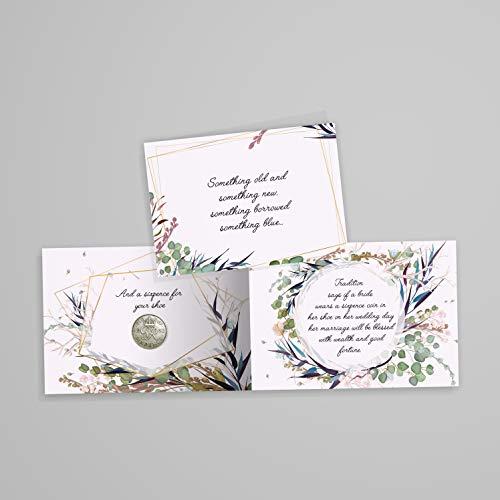 he Sixpence-Münze mit Karte und Umschlag für die Braut - Something Old, Something New, Something Borrowed, Something Blue und a Sixpence für ihren Schuh ()