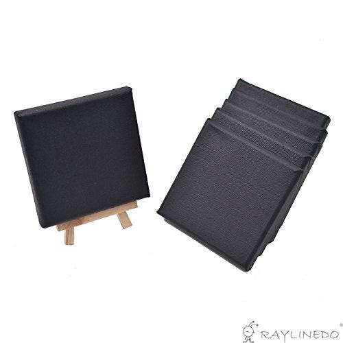 RayLineDo® Set von 6 Stück Mini Künstler schwarz Leinwand Rahmen 10 x 10 cm Öl Wasser Maltafel Flache Canvas mit 1 Mini Holz Display Staffelei