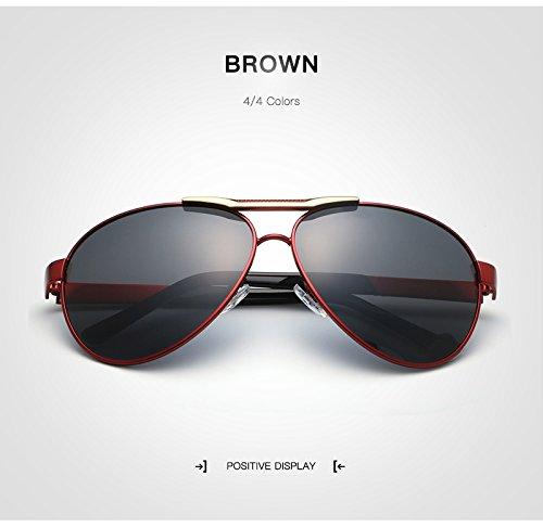 Yiph-Sunglass Sonnenbrillen Mode Männer Klassische Marke Luftfahrt Polarisierte Sonnenbrille Männer HD Aluminium Fahren TR90 Titan Brücke Sonnenbrille UV400 Brillen (Color : Brown)
