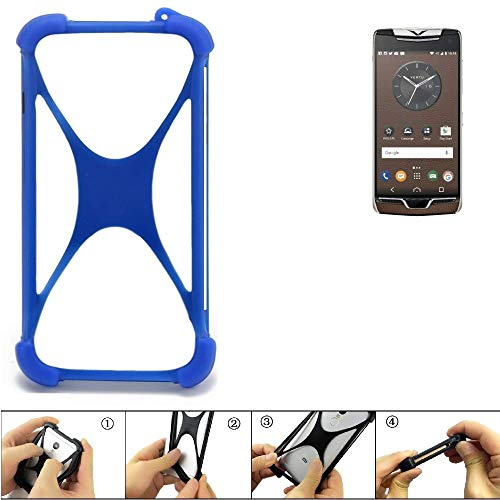 K-S-Trade Bumper für Vertu Constellation (2017) Silikon Schutz Hülle Handyhülle Silikoncase Softcase Cover Case Stoßschutz, blau (1x)
