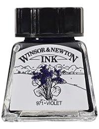 Winsor & Newton 1005688 Drawing Inks - Zeichentusche (für Kalligraphen, Illustratoren, Grafikern und Künstler - wasserbeständige Tinte mit herrvorragender Transparenz) 14 ml Flasche violett