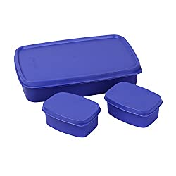 Cello Max Fresh Compact Polypropylene Lunch Box Set, 100ml/22.3cm, Set of 3, Purple