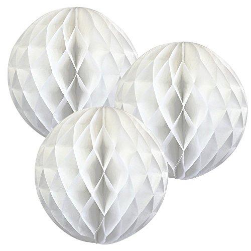 5pack 15,2cm/20,3cm/25,4cm/30,5cm Seidenpapier Pompons Honeycomb Ball Laterne Blume für Hochzeit Party Dekorationen, Papier, weiß, 20,32 cm (8 (Masken Stadt Party)