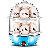 Eier-Cooker,350W Doppel-Ebenen-Eier-Cooker,14 Egg Capacity Egg Cooker mit Messkup für den einfachen Einsatz von Peel, automatisches Abschalten und Umschaltung Heizset für Heim-Küche,Blue
