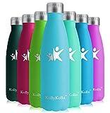 KollyKolla Vakuum Isolierte Edelstahl Trinkflasche, 750ml BPA Frei Wasserflasche Auslaufsicher, Thermosflasche für Sport, Outdoor, Fitness, Kinder, Schule, Kleinkinder, Kindergarten (Pfauenblau)