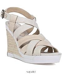 Calvin Klein Jeans - Sandalias de vestir para mujer Beige Off-White