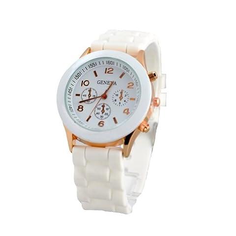 Hot sale New Fashion Designer Ladies sports brand silicone watch jelly watch quartz watch for women men (White)