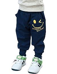 Minuya Pantalon Bébé Garçon, Élastique Sourire imprimé les Pantalons de Survêtement de Jogging Sport Pour Enfants