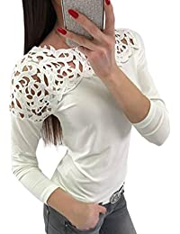 Oyedens Damen Langarm T-Shirt Rundhals Ausschnitt Lose Bluse Hemd Oberteil  Tops 5a9f63521f