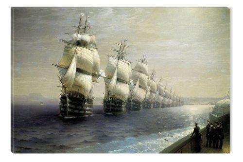 Startonight Leinwand Wand Kunst Aivazovschy Flotte Parade des Schwarzen Meeres im Jahre 1854, Doppelansicht Überraschung Modernes Dekor Kunstwerk Gerahmte Wand Kunst 100% Ursprüngliche Fertig zum Aufhängen 80 x 120 CM