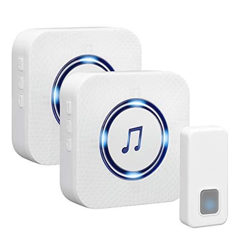 Campanello senza fili da esterno luposwiten,campanelli wireless 55 suonerie,5 volume regolabile raggio d'azione 300m,indicatore led, impermeabile ip55 pulsante e 2 ricevitori con spina,bianco