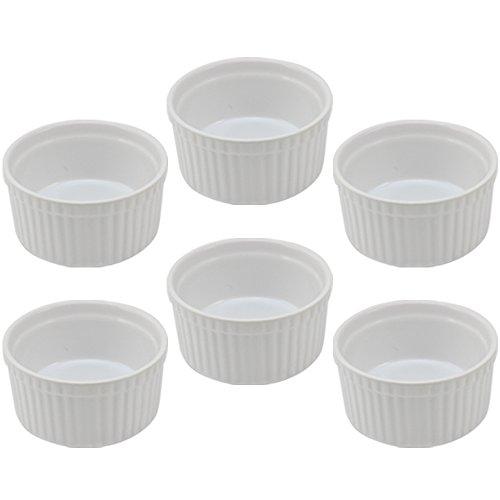 COM-FOUR® Lot de 6 ramequins/plats à gratins/moules à tourte, crème brûlée Blanc (06 pièces)