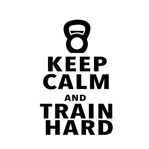 Keep Calm and Train Hard Workout Motivational Fitness Gym Life Wall Vinyl Decal for Home Decor...