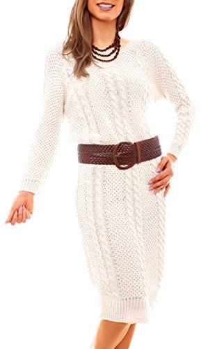 Damen Grobstrick Kleid Winterkleid Oversize Strickkleid Pulloverkleid Zopfmuster Einfarbig Wollkleid Knielang One Size Beige