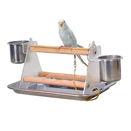 Kleiner mittlerer Papageien Vogel Barsch Tischplatte Acryldreieck Stand mit 2 einziehenden Bechern für Wasser und Nahrung -