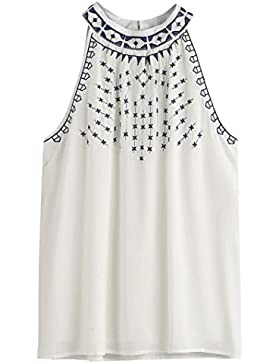 Rcool Moda Mujer Blanco Blusa Camiseta Verano Bordado Sin mangas Tops