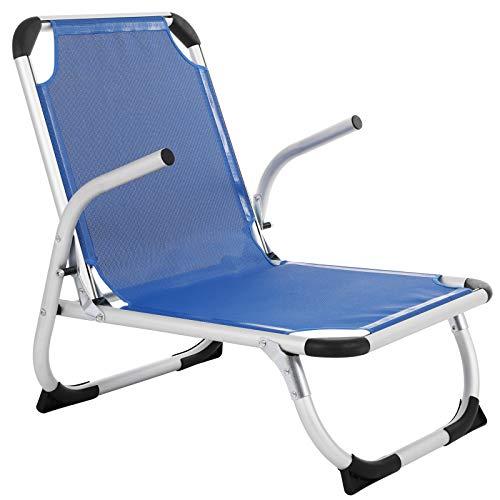 Songmics sedia da spiaggia portatile, alluminio, spiaggina pieghevole, leggera, confortevole, tessuto in fibra sintetica traspirante, struttura resistente, sedia da esterno, blu gcb64bu