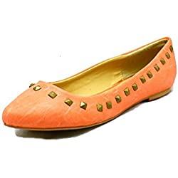 Salmon Pink studded edge flat pointed toe shoes / pumps