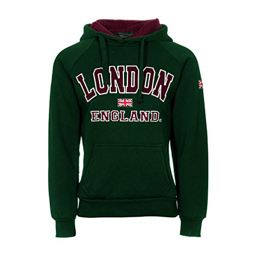 Damen Kapuzenpullover London England Union Jack Tops Hoodies Super Qualität Gr. 34 DE/36 DE/S, grün - London England