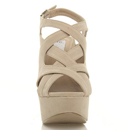Damen Hohe Keilabsatz Plateau Riemchen Ausgeschnitten Sandalen Schuhe Größe Beige / Stein Wildleder