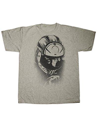 """T-Shirt mit Aufdruck """"Rossi Rennfahrer Augen und Helm"""", von Hotfuel - Gr. XXXXL, grau (Grand-prix-helm)"""