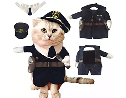 haohaochifan Eine Haustier-Katze Ist ALS Stehendes Haustier Und Polizist Verkleidet