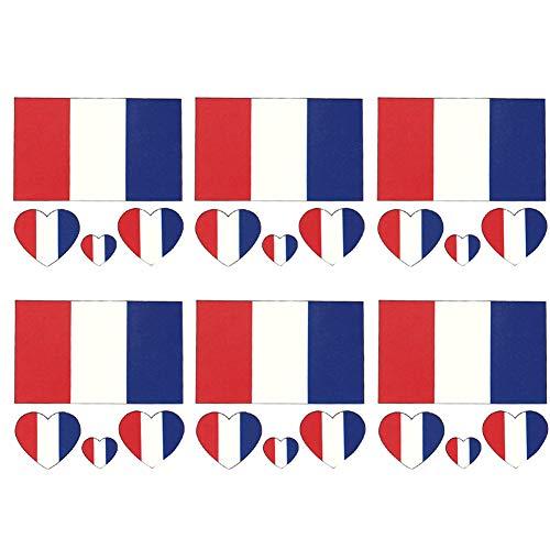 Kinder Frankreich Kostüm National - 6 Stück/Set Frankreich-Flagge Tattoos Sticker wasserdicht temporäre Tattoos Sweatproof Gesichts-Körper-Dekor-Aufkleber Festival Zubehör