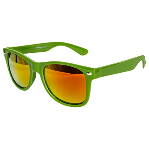 Ciffre Sonnenbrille Nerdbrille Nerd Retro Look Brille Pilotenbrille Vintage Look - ca. 80 verschiedene Modelle Dunkel grün Feuer Verspiegelt
