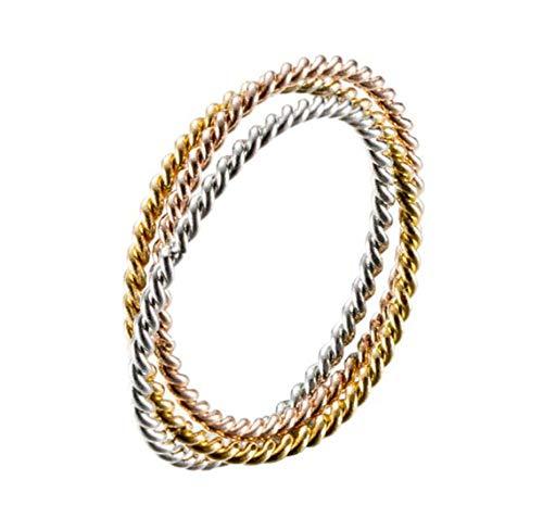 Hijones intrecciate anello impilabile da donna in acciaio inossidabile corda intrecciata tre strati fedi nuziali oro rosa argento dimensione 15
