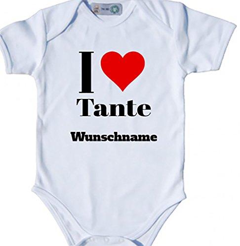 Baby Body Bio Bodysuit Shortsleeve I Love (Herz) Tante & Wunschname (50-56, weiß) (Name Strampelanzug)