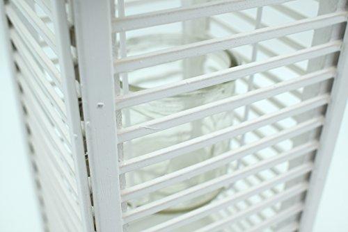 E Trade Lanterna a LED in Vimini e Rattan, Colore Bianco - 6