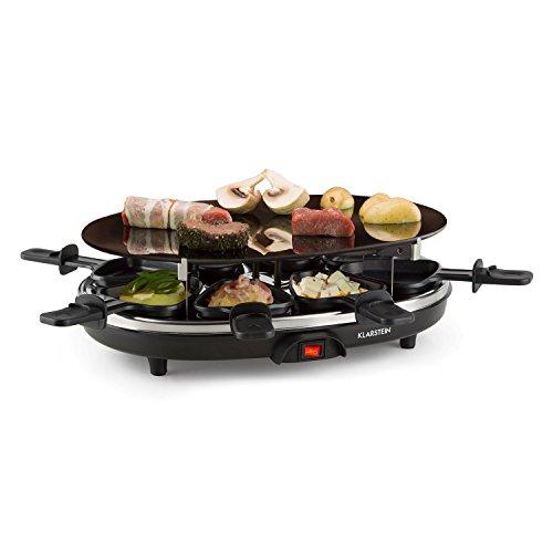 Klarstein Blackjack Appareil à raclette multifonction (plaque de cuisson pour grill en céramique, 8 poêlons, 900 W, chauffe très vite) - acier inox