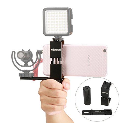 Ulanzi Smartphone Filmemacher Video Rig, Metall Telefon Stativhalterung mit Blitzschuh + Metall Handgriff Halter + Mikrofon Kalter Schuhplatte Kit für iPhone Mikrofon BY-MM1 LED-Videoleuchte -