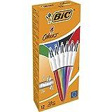 BIC 4 Colours Shine Kugelschreiber, mittlere Spitze (1,0 mm), verschiedene Metallic-Schafte, Box mit 12 Stück